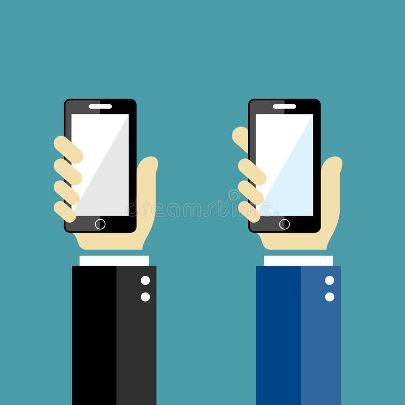 Ręki z telefonami ilustracja wektor