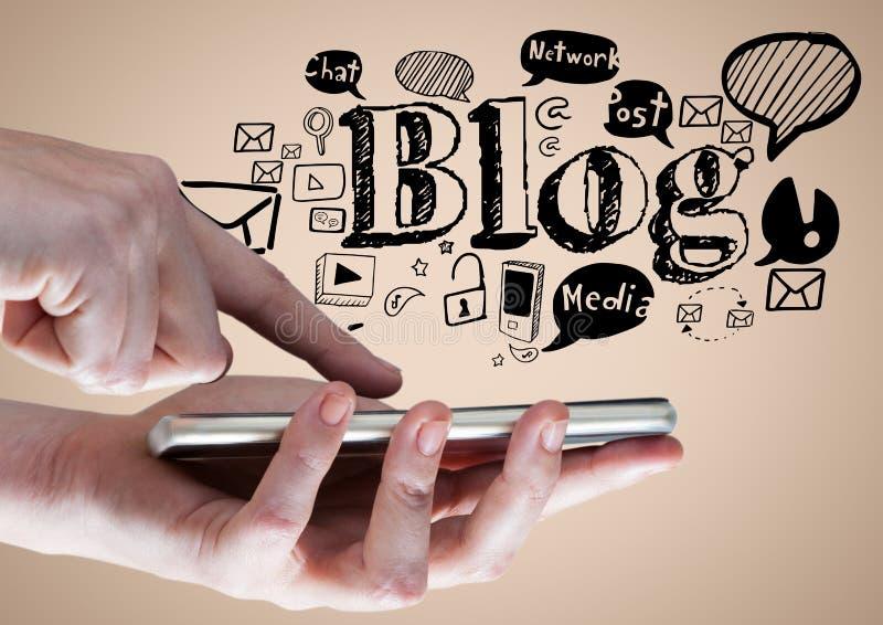 Ręki z telefonem i czarni blogów doodles przeciw kremowemu tłu ilustracji