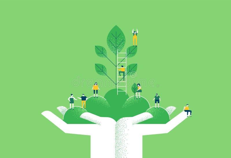 Ręki z zieloną rośliną i ludźmi dla natury pomagają ilustracji