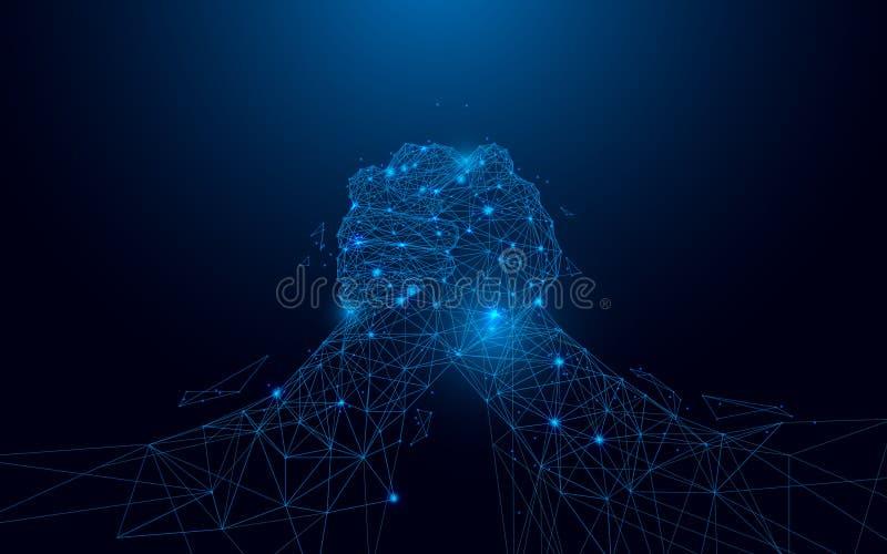 Ręki zapaśnictwo od linii i prostokątów, wskazuje złączoną sieć na błękitnym tle royalty ilustracja
