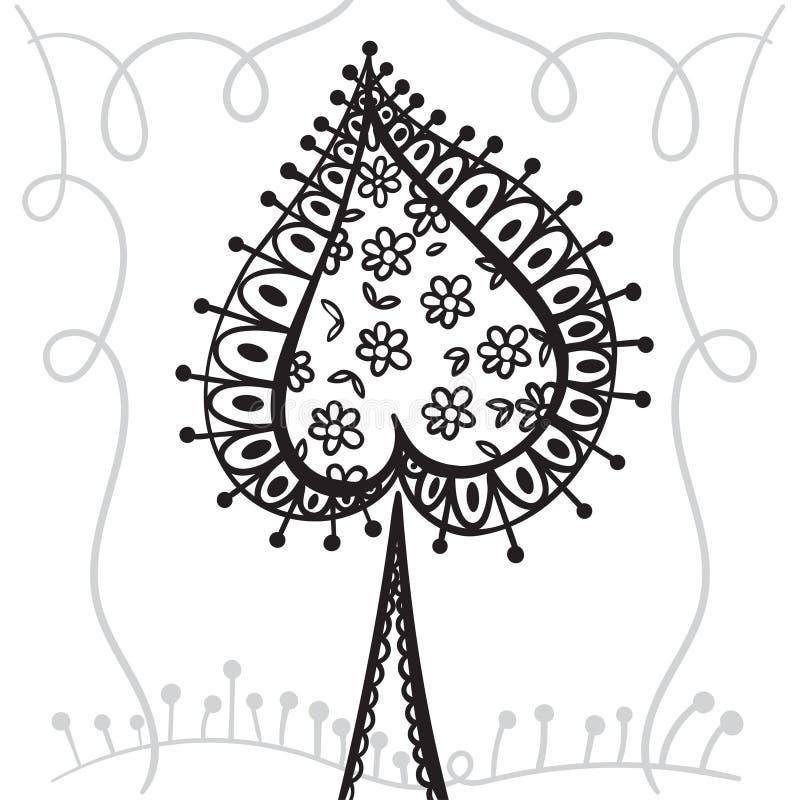 Ręki zentangle rysunkowy element z dekoracyjną ramą Dekoracyjny abstrakcjonistyczny drzewo Karciani rydle royalty ilustracja