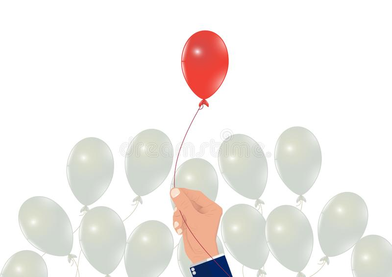 Ręki zrywania czerwieni balon od biel balonów, biznesowy pojęcie planowanie, wybierający prawego zasoby i cel ilustracji