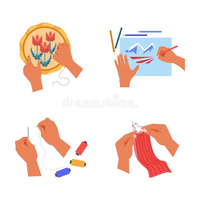 Rękodzieło istoty ludzkiej ręki lub broderia rysunek i palm szy i dzia royalty ilustracja