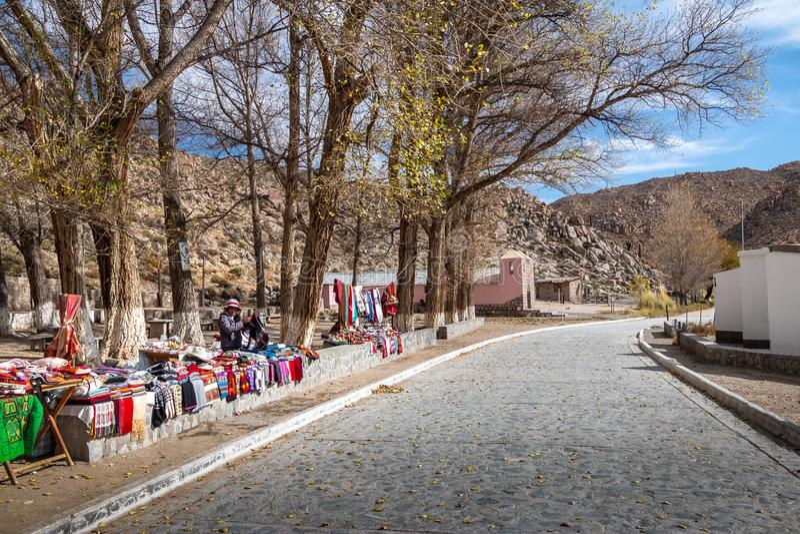 Rękodzieło sprzedawca przy Santa Rosa De Tastil Wioska, Santa Rosa De Tastil -, Salto, Argentyna zdjęcia stock