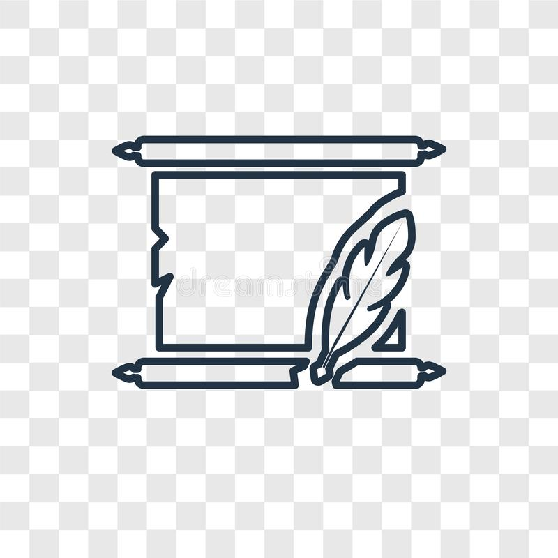 Rękopiśmiennego pojęcia wektorowa liniowa ikona odizolowywająca na przejrzystych półdupkach royalty ilustracja