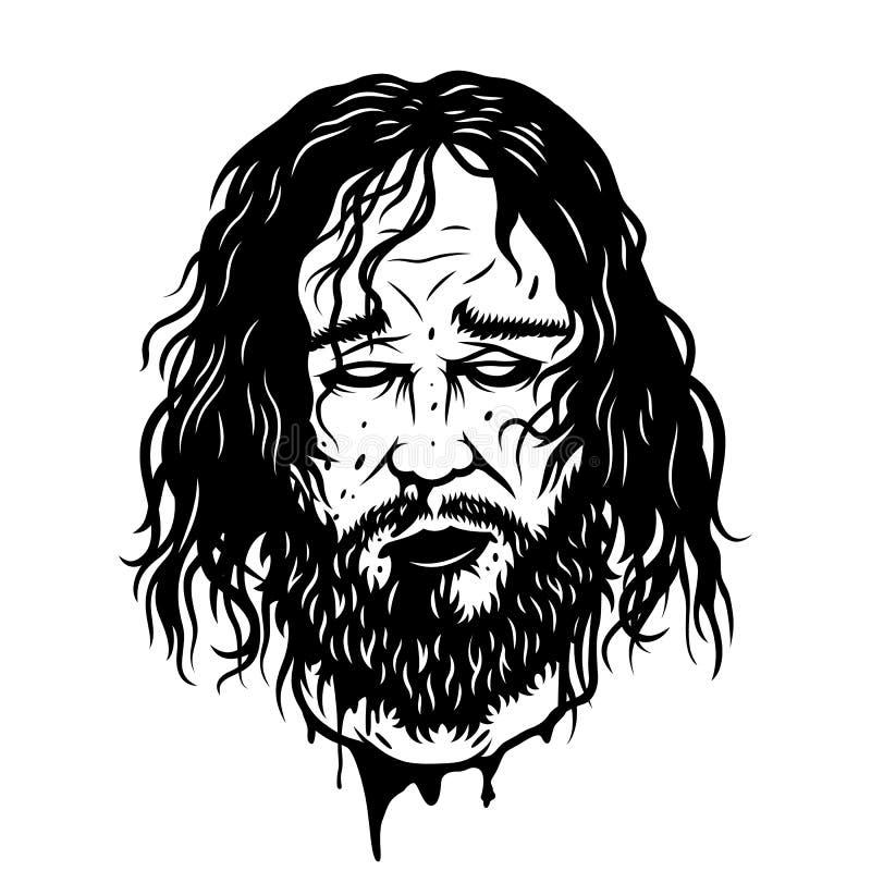 Rżnięta wojownik głowa ilustracja wektor