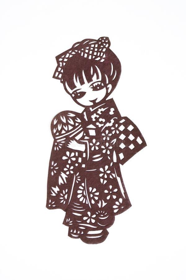 rżniętej dziewczyny japoński papier ilustracji