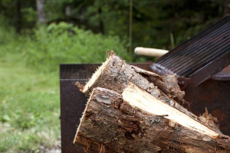 Rżnięty drewno dla ognisko kuchenki zdjęcia royalty free