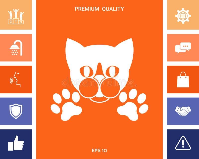 Rżnięty kot z łapami - logo, symbol, gacenie znak ilustracja wektor
