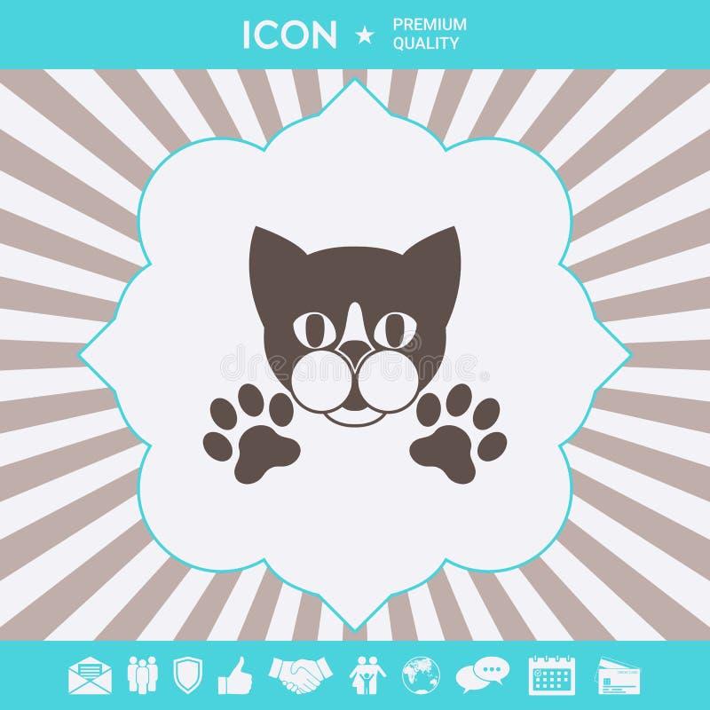 Rżnięty kot z łapami - logo, symbol, gacenie znak ilustracji