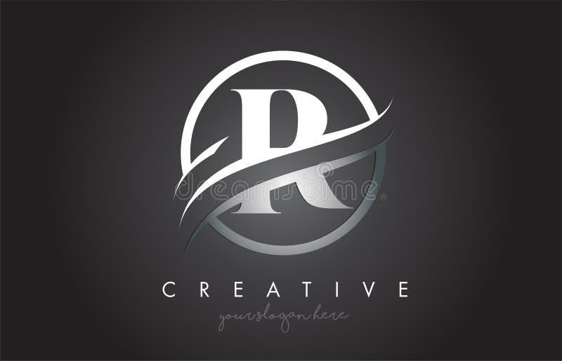 R信件与圈子钢Swoosh边界和创造性的象设计的商标设计 皇族释放例证