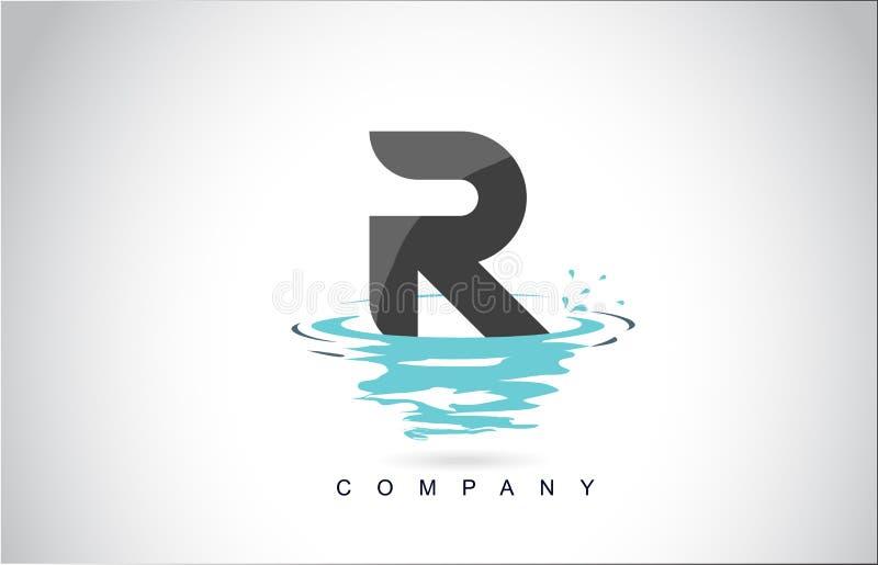R信件与水飞溅的商标设计起波纹下落反射 库存例证