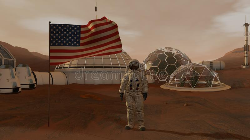 r Αποικία στον Άρη Αστροναύτης που χαιρετίζει τη αμερικανική σημαία Να ερευνήσει την αποστολή στον Άρη Φουτουριστικά αποίκιση και στοκ εικόνα με δικαίωμα ελεύθερης χρήσης