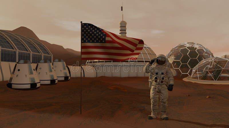 r Αποικία στον Άρη Αστροναύτης που χαιρετίζει τη αμερικανική σημαία Να ερευνήσει την αποστολή στον Άρη Φουτουριστικά αποίκιση και στοκ εικόνες