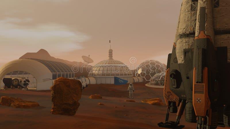 r Αποικία στον Άρη Αστροναύτης που χαιρετίζει τη σημαία των Η.Ε Να ερευνήσει την αποστολή στον Άρη Φουτουριστικά αποίκιση και διά στοκ εικόνα με δικαίωμα ελεύθερης χρήσης