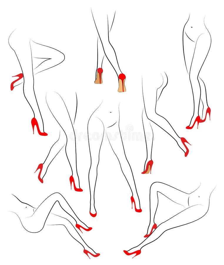 r Αριθμός σκιαγραφιών μιας κυρίας Λεπτά πόδια ενός νέου κοριτσιού στα κόκκινα παπούτσια Μια γυναίκα στέκεται, πηγαίνει, κάθεται Σ διανυσματική απεικόνιση