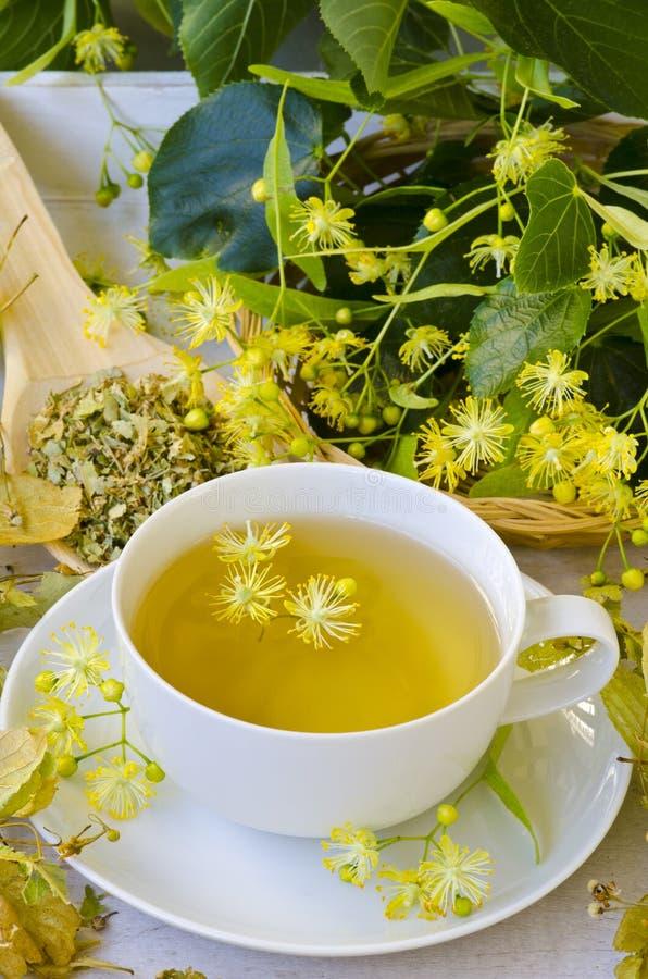 r Βοτανική θεραπεία Έγχυση των λουλουδιών ασβέστη στοκ εικόνες
