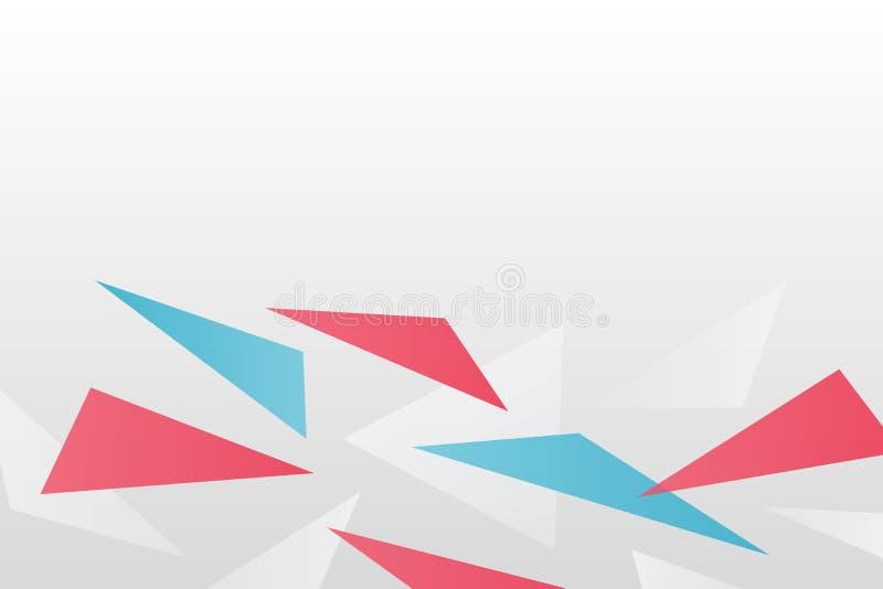 r Γεωμετρικό σχέδιο τριγώνων κλίσης Άσπρη, κόκκινη και μπλε απεικόνιση για τον Ιστό, φουτουριστικό σχέδιο διανυσματική απεικόνιση
