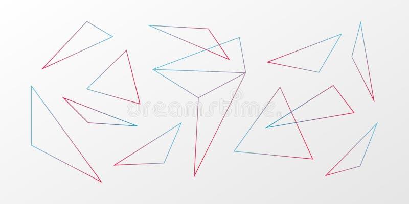 r Γεωμετρικό σχέδιο τριγώνων κλίσης Μπλε κόκκινο άσπρο ilustration για τον Ιστό, φουτουριστικό σχέδιο απεικόνιση αποθεμάτων