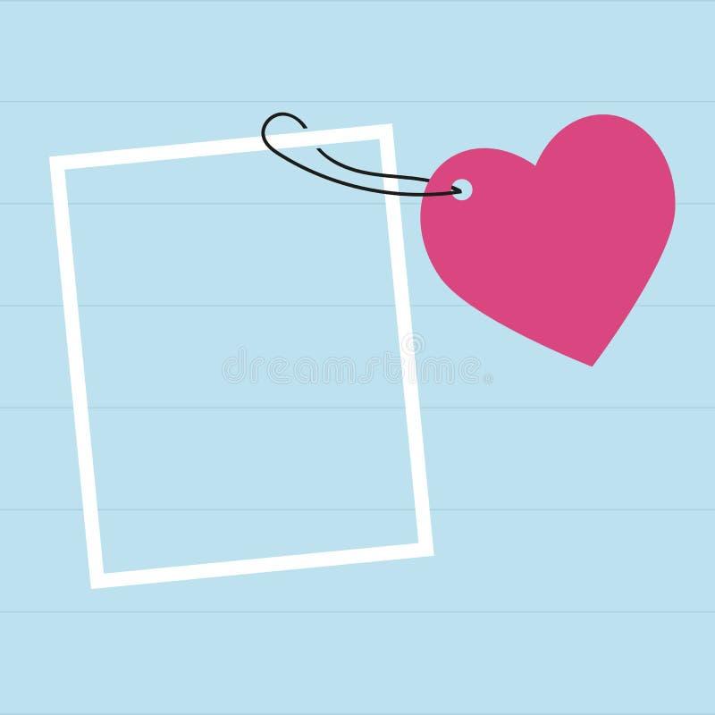 r για το γράψιμο του ρομαντικού μηνύματος, κόκκινη καρδιά, σπάγγος, καρφίτσα, μπλε ξύλινο υπόβαθρο διανυσματική απεικόνιση