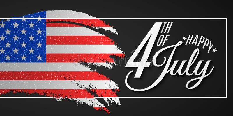 r Ευχετήρια κάρτα για 4ο του Ιουλίου Βούρτσα Grunge στο πλαίσιο Έμβλημα κειμένων στο υπόβαθρο ΑΜΕΡΙΚΑΝΙΚΩΝ σημαιών Πολιτεία διανυσματική απεικόνιση