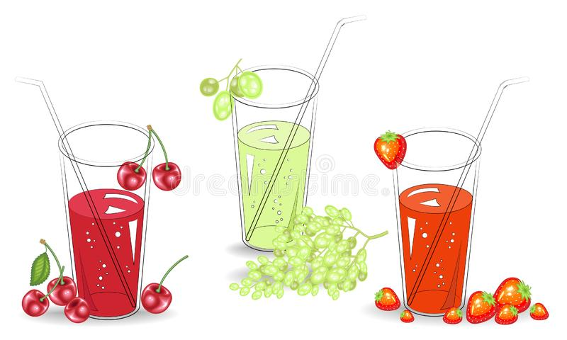 r Εύγευστο υγιές αναζωογονώντας ποτό Σε ένα ποτήρι του φυσικού χυμού φρούτων, των ώριμων κόκκινων φραουλών, των κερασιών και του  ελεύθερη απεικόνιση δικαιώματος