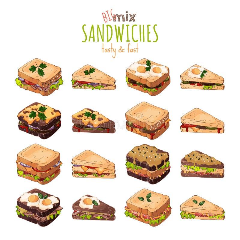 r Θέμα γρήγορου φαγητού: μεγάλο σύνολο διαφορετικών ειδών σάντουιτς διανυσματική απεικόνιση