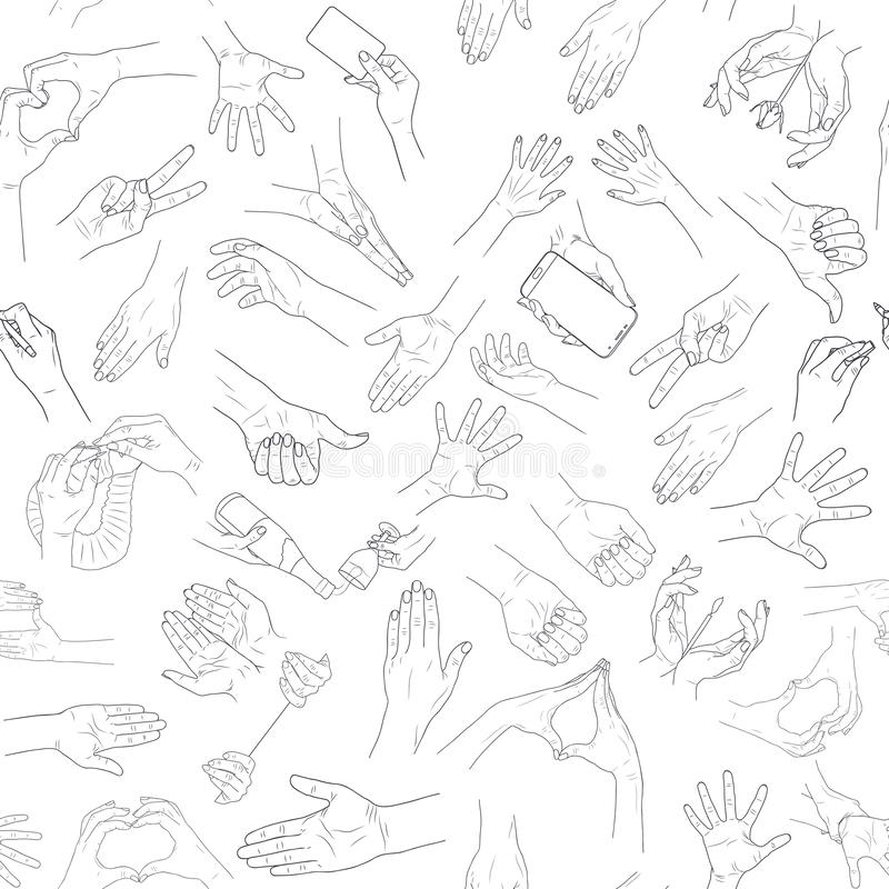 r θηλυκά χέρια Τέχνη γραμμών r απεικόνιση αποθεμάτων