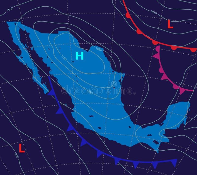 r Καιρικός χάρτης του Μεξικού Μετεωρολογική πρόβλεψη σε ένα σκοτεινό υπόβαθρο Ρεαλιστικός και συνοπτικός χάρτης Editable ελεύθερη απεικόνιση δικαιώματος