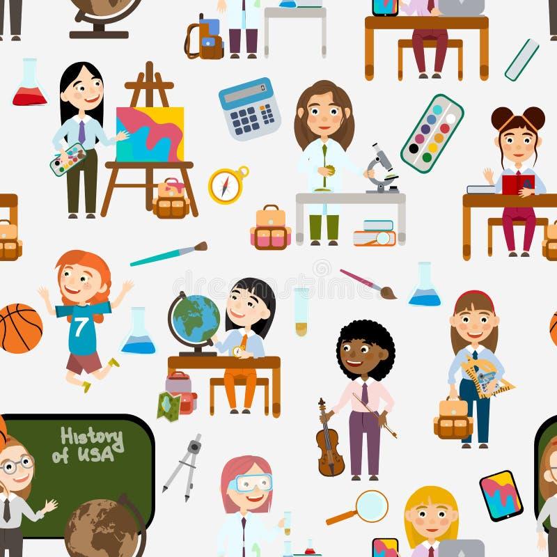 r Κορίτσια στο σχολείο Σπουδαστής στα διαφορετικά μαθήματα διανυσματική απεικόνιση