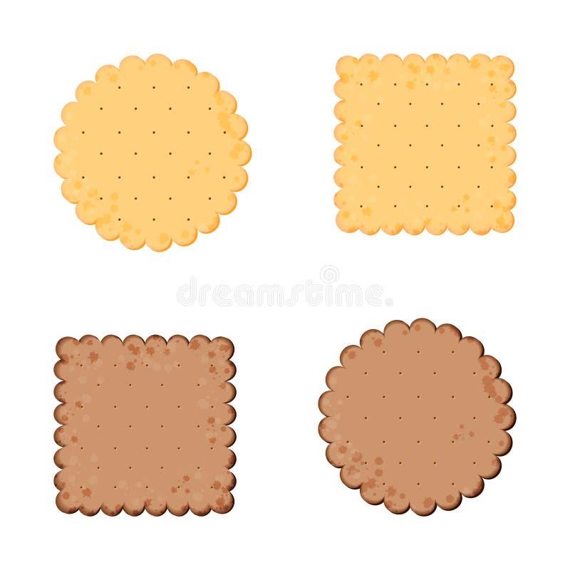 r Κροτίδα υγείας Κροτίδα σοκολάτας Απομονωμένο μπισκότο: κύκλος, τετράγωνο Εικονίδιο για το κατάστημα προϊόντων σχεδίου, αφίσα μέ διανυσματική απεικόνιση