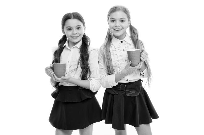 r Μαθήτριες με τις κούπες που έχουν το σπάσιμο τσαγιού Χαλαρώστε και επαναφορτίστε Έννοια ισορροπίας νερού Απολαμβάνοντας το τσάι στοκ εικόνα