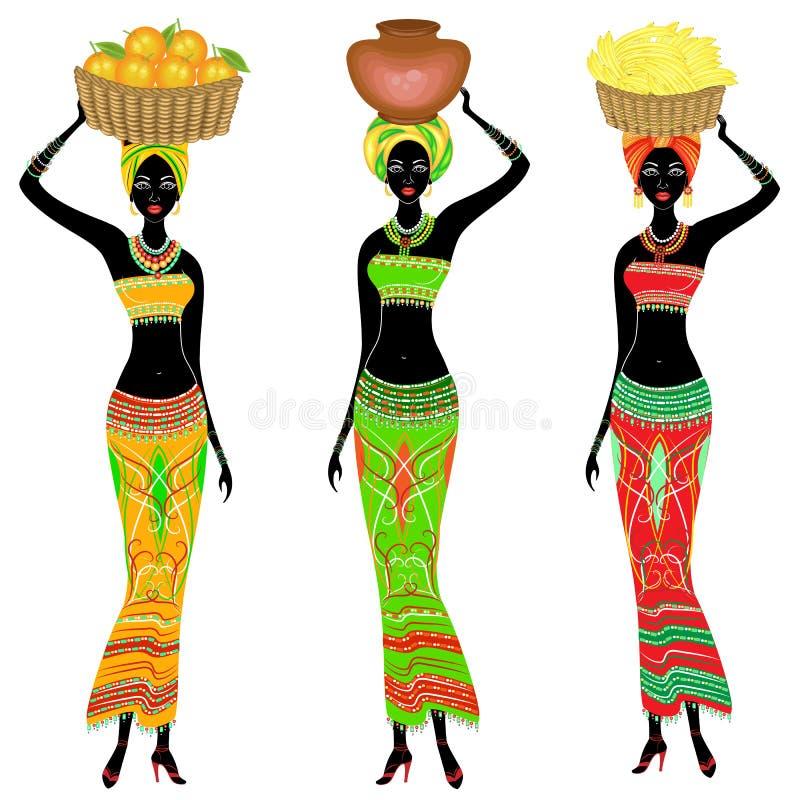 r Μια λεπτή κυρία αφροαμερικάνων Ένα κορίτσι φέρνει ένα καλάθι με τις μπανάνες, πορτοκάλια, μια κανάτα στο κεφάλι της Η γυναίκα ε απεικόνιση αποθεμάτων