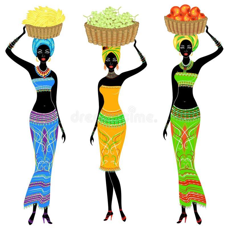 r Μια λεπτή κυρία αφροαμερικάνων Το κορίτσι φέρνει ένα καλάθι στο κεφάλι της με τα σταφύλια, μπανάνες, μήλα Οι γυναίκες είναι διανυσματική απεικόνιση