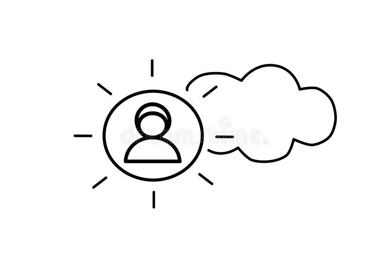 r Πρόσωπο, απεικόνιση σχεδίου Επίπεδο απλό εικονίδιο Καιρικό σημάδι, ουρανός Ακτίνες και σύννεφο ήλιων ελεύθερη απεικόνιση δικαιώματος