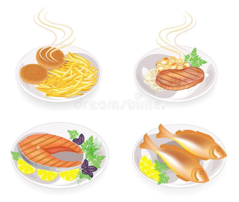 r Σε ένα πιάτο τηγανισμένα cutlets, μπριζόλα, ψάρια, κρέας Διακοσμήστε τις πατάτες, τα μανιτάρια, το λεμόνι, τα πράσινα, το μαϊντ διανυσματική απεικόνιση