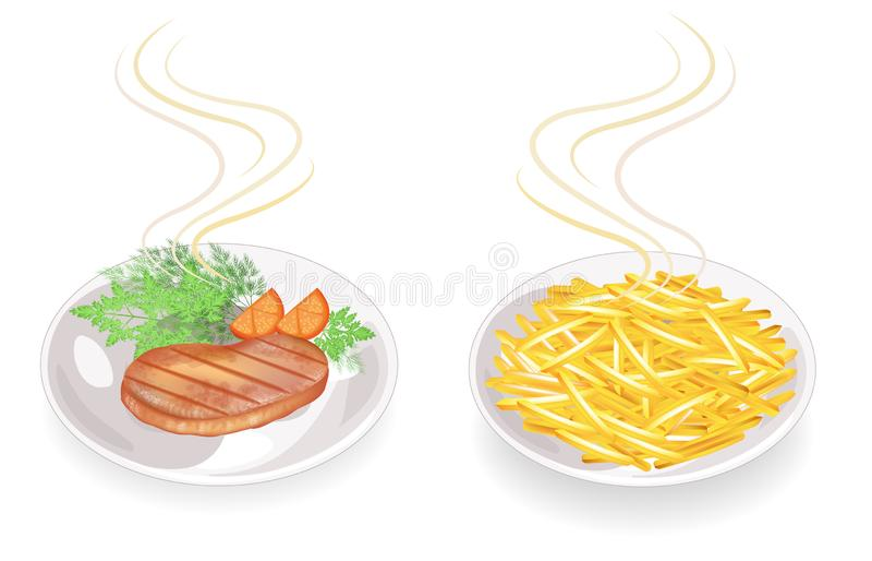 r Σε ένα πιάτο της καυτής τηγανισμένης μπριζόλας κρέατος Διακοσμήστε τις τηγανισμένες πατάτες, ντομάτα, πράσινα βασιλικού, μαϊντα διανυσματική απεικόνιση