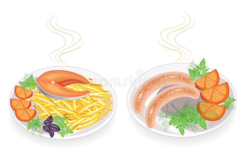 r Σε ένα πιάτο του τηγανισμένου snmgi μπριζόλας λουκάνικων Διακοσμήστε τις πατάτες, την ντομάτα, τα πράσινα, τον άνηθο μαϊντανού  διανυσματική απεικόνιση
