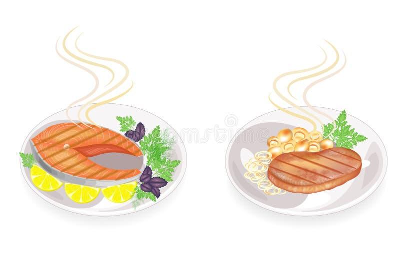r Σε ένα πιάτο ψημένων στη σχάρα του μπριζόλα κρέατος και των ψαριών Διακοσμήστε τα μανιτάρια, κρεμμύδια, λεμόνι, πράσινα άνηθου, ελεύθερη απεικόνιση δικαιώματος