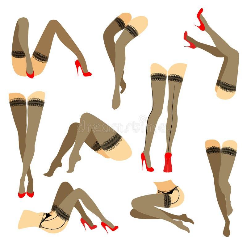 r Σκιαγραφία των λεπτών όμορφων θηλυκών ποδιών Η κυρία είναι σε διαφορετικό θέτει Τα κορίτσια έντυσαν στις μοντέρνες γυναικείες κ ελεύθερη απεικόνιση δικαιώματος