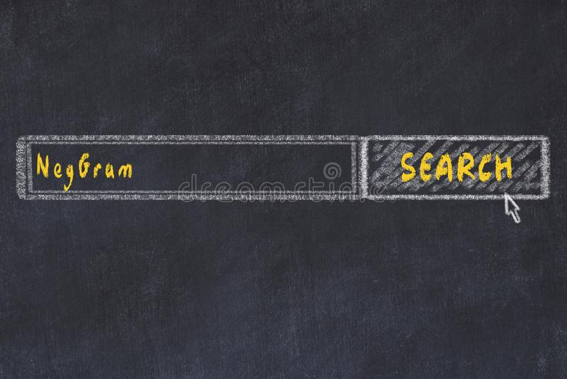 r Σχέδιο κιμωλίας ενός παραθύρου μηχανών αναζήτησης που ψάχνει το φάρμακο neggram στοκ φωτογραφία