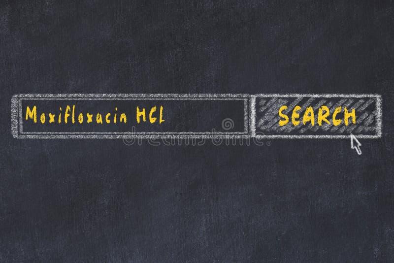 r Σχέδιο κιμωλίας ενός παραθύρου μηχανών αναζήτησης που ψάχνει το HCL moxifloxacin φαρμάκων στοκ εικόνες