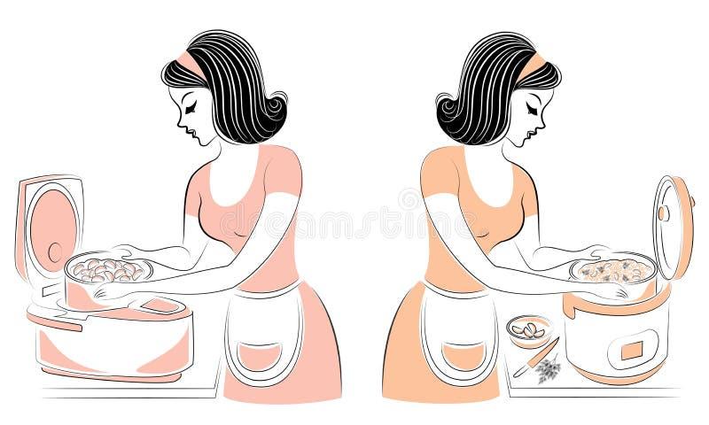 r Σχεδιάγραμμα μιας όμορφης γυναίκας Το κορίτσι προετοιμάζει τα τρόφιμα για την πολυ-κουζίνα Μια γυναίκα είναι καλή νοικοκυρά και διανυσματική απεικόνιση