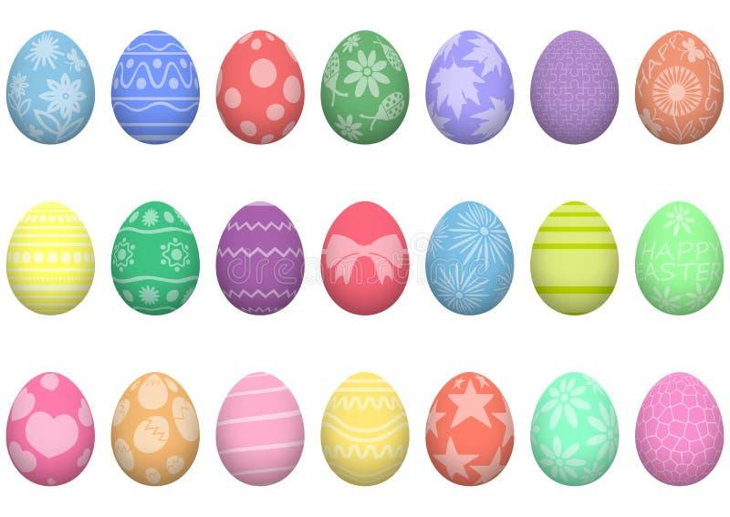 r Σύνολο ζωηρόχρωμων ρεαλιστικών αυγών Πάσχας με τα σχέδια Διακόσμηση για τις διακοπές o απεικόνιση αποθεμάτων