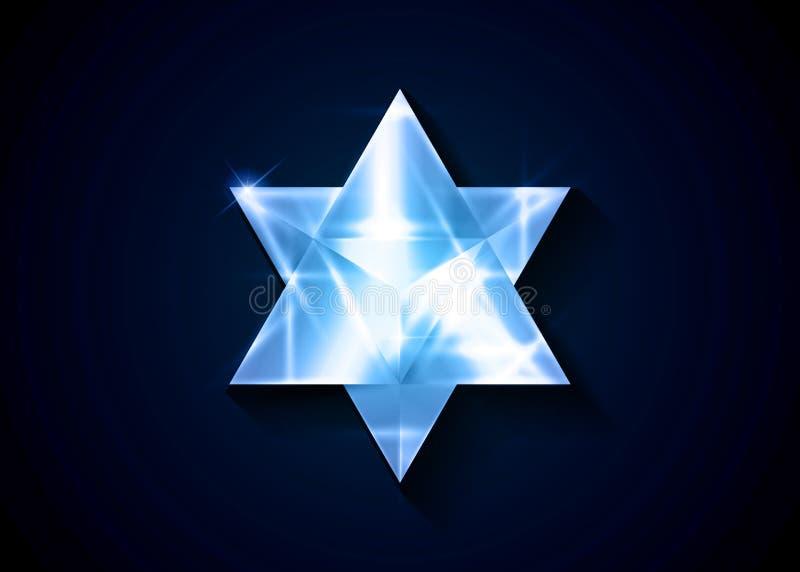 r τρισδιάστατη κρυστάλλου μορφή τριγώνων Merkaba γεωμετρική εσωτερικό ή πνευματικό σύμβολο r Πάγος γυαλιού ελεύθερη απεικόνιση δικαιώματος