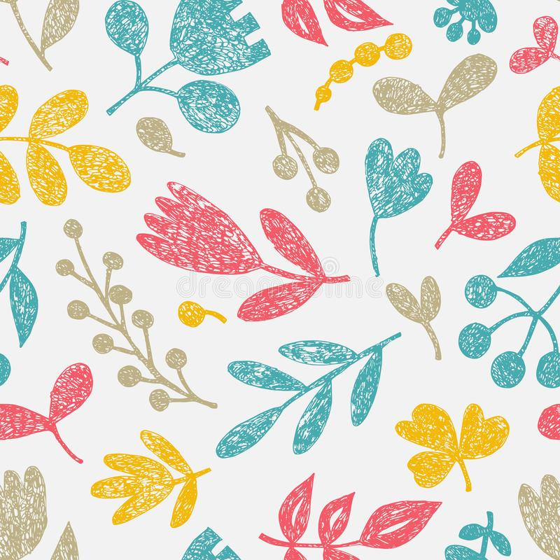 r Φυτεύει doodle την τυπωμένη ύλη Διακοσμητικά λουλούδια και φύλλα που σύρονται στην κιμωλία με το χέρι Υπόβαθρο θερινής άνοιξης απεικόνιση αποθεμάτων