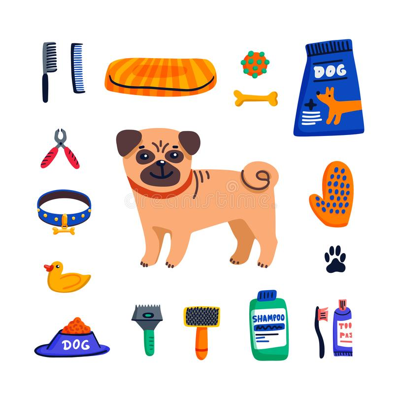 r Χαριτωμένα αγαθά προσοχής μαλαγμένου πηλού και σκυλιών στο άσπρο υπόβαθρο Προσοχή σκυλιών, καλλωπισμός, υγιεινή, υγεία Κατάστημ διανυσματική απεικόνιση