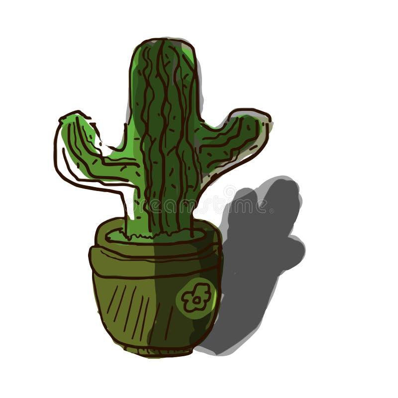 r Χαριτωμένη συρμένη χέρι τυπωμένη ύλη κάκτων, πράσινο χρώμα διανυσματική απεικόνιση