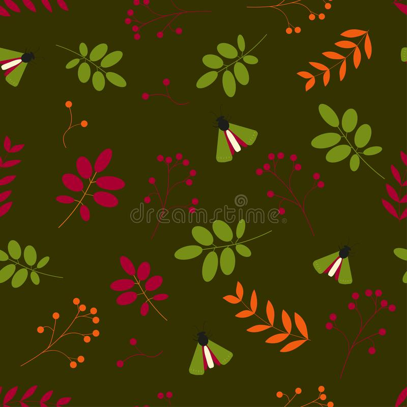 r Безшовная картина: листья, ягоды, насекомые, мы зеленая предпосылка иллюстрация вектора