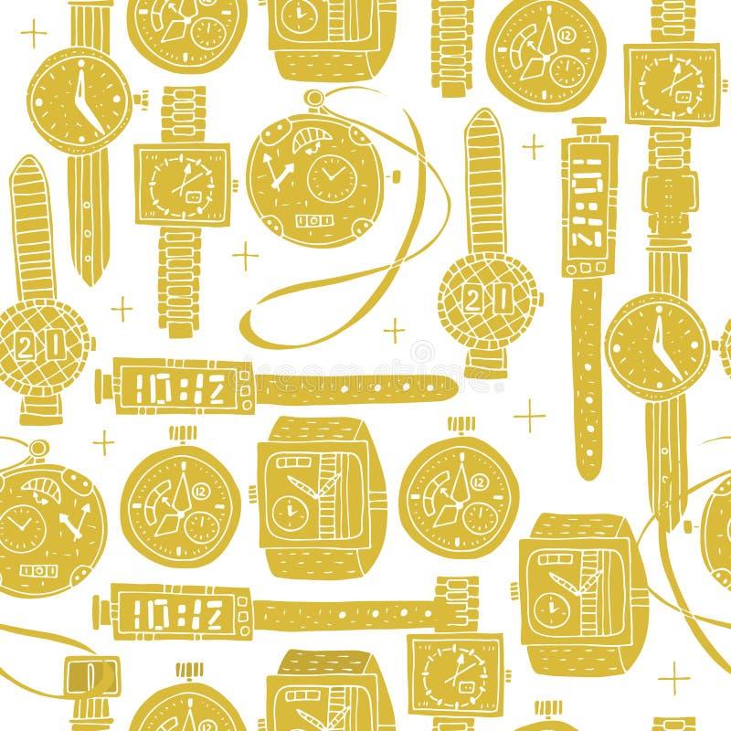 r Безшовная картина различных часов в стиле Doodle иллюстрация штока